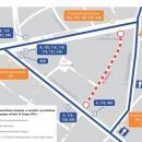 Przebudowa ulicy Berenta na Karłowicach - mapka objazdów